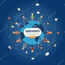Social Network Banner With Connected Icons Stock Vector
