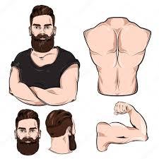 části Mužského Těla Pro Sadu Tetování S Motivem Stock Vektor