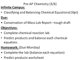 pre ap chemistry 3 6 infinite campus classifying and balancing chemical
