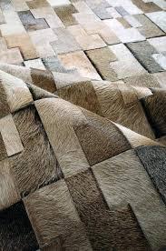 square faux cowhide rug cow flokati white grey