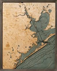 Houston And Galveston 3 D Nautical Wood Chart 24 5 X 31 Driftwood Grey Frame