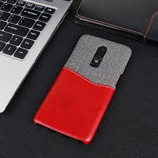 leather patchwork card mobile phone holster for oneplus six brown