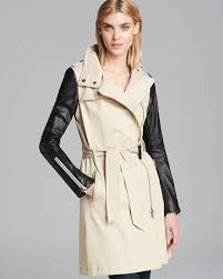 lyst mackage trench coat avra mixed media in natural 3df66 e4538