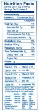 blue diamond almond breeze original unsweetened almondmilk nutrition facts