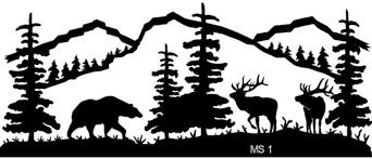 mountain scene bear and elk metal wall art powered by cubecart western metal art silhouettes
