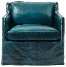britta hollywood regency nailhead blue leather skirted armchair