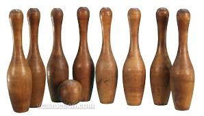 Vintage Wooden Bowling Game