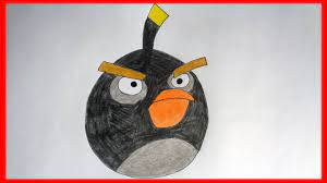 How to draw angry birds Bomb - YouTube