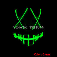 Mask Decorating Supplies Green EL Wire Glowing Mask for Halloween Holiday Party Decoration 100