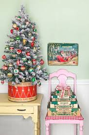 Image Ribbon Mini Christmas Tree Flocked Country Living Magazine 30 Best Small Christmas Trees Ideas For Decorating Mini Christmas