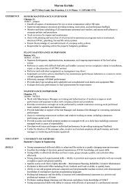 Supervisor Sample Resume Maintenance Supervisor Resume Samples Velvet Jobs 23