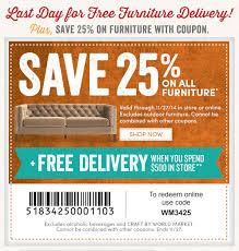 Cost Plus World Market Last day for FREE Furniture Delivery 25