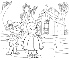 Curious George Coloring Pages With Allie In Winter Coloringstar