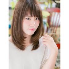 斜めバングのミディアムストレート Cover Hair Bliss 北浦和西口店