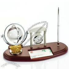 office desktop set with crystal ball clock business card holder pen stand