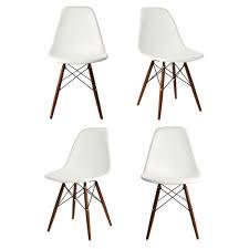 set of 4 dsw molded white plastic dining s chair with dark walnut wood eiffel legs