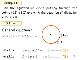 find the equation of circle passing through the points 1 1