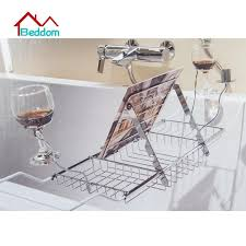 beddom bathtub rack bathroom stainless steel expandable bathtub caddy tray with reading rack and wine glass holder
