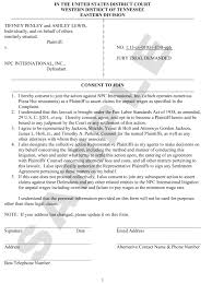 pizza hut shift managers consent form shift managers