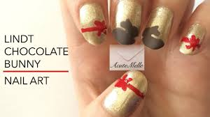 Easter Lindt Chocolate Bunny Nail Art - YouTube