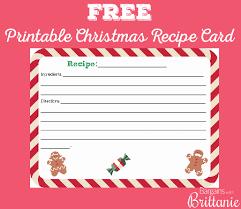 Christmas Recipe Card Free Printable Christmas Recipe Card