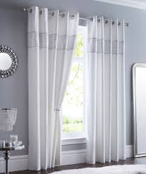 luxury sequin diamante fully lined eyelet curtains set shimmer white