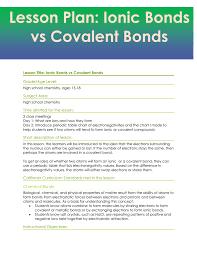 Ionic Vs Covalent Bonds Venn Diagram Lesson Plan Ionic Bonds Vs Covalent Bonds