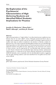 pdf an exploration of the psychosocial characteristics of high achieving students and identified gifted students implications for practice