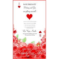 Red Save The Date Cards Jack And The Queen Roses Red Playing Cards Theme Wedding Save The Date Card