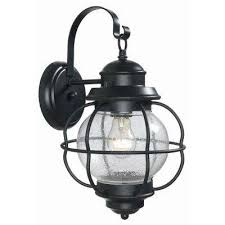 greer 1 light black exterior medium outdoor wall mount lantern with caged seeded glass