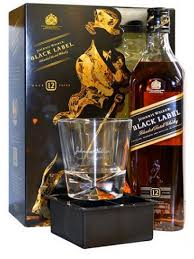 johnnie walker black label 750ml gift set with ice tray gl