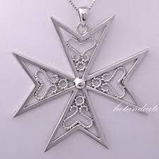 details about hallmarked sterling silver malta maltese cross pendant filigree large size huge
