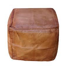 square moroccan pouffe ottoman genuine tan leather
