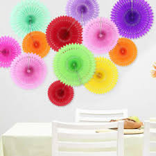 Paper Flower Pinwheels Hanging Paper Flower Cut Out Fans Pinwheels Tissue Paper Craft Party
