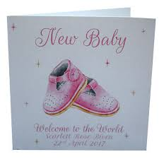 Babygirl Cards Personalised New Baby Card Luxury Handmade Baby Girl Pink