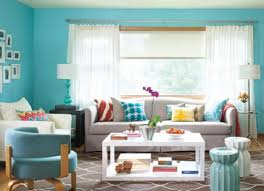 ... Bright yellow, turquoise and brown colors, modern living room design  and decorating