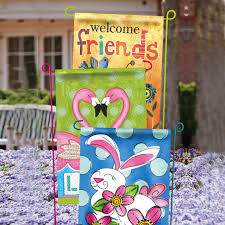 whole garden flag stands 3 assorted colors by evergreen enterprises