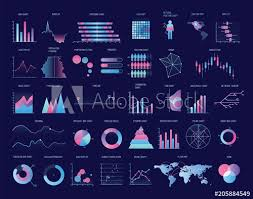 Collection Of Colorful Charts Diagrams Graphs Plots Of