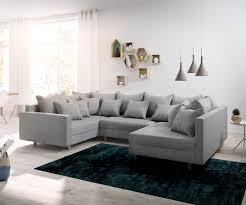 Delife Wohnlandschaft Clovis Grau Flachgewebe Mit Armlehne Modulsofa Design Wohnlandschaften Couch Loft Modulsofa Modular