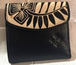 tooled leather wallet small goods collection bi fold frame hand womens tooled leather wallet