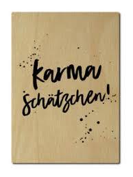 Luxecards Postkarte Aus Holz Karma Schätzchen Yoga Namaste Lustige