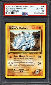 Rhyhorn runs in a straight line, smashing everything in its path. 2000 Nintendo Pokemon Gym Challenge Blaine S Rhyhorn 1st Edition Psa Cardfacts