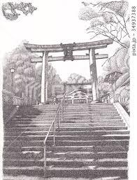 鳥居 階段 参道 神社のイラスト素材 Pixta