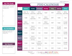 Basic Calendars Printable Piyo Calendar And Workout Schedule