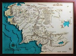 middle earth (the lord of the rings) map laser cut   made in