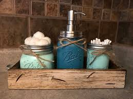 MASON Jar Bathroom SET in Antique White TRAY, Cotton Ball Holder, Soap  Dispenser, Mini Q-tip Jars Painted Distressed Counter Decor Kitchen