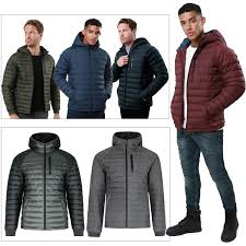 details about threadbare mens glendale hooded puffer jacket lightweight padded bubble coat