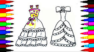 coloring pages princess dresses l drawing pages to color for kids l learn rainbow colors