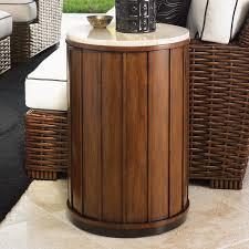 tommy bahama ocean club fiji round wood and travertine drum table hayneedle