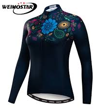 Women <b>Cycling Jersey</b> Long Sleeve Black Flowers Shirt <b>Team Bike</b> ...